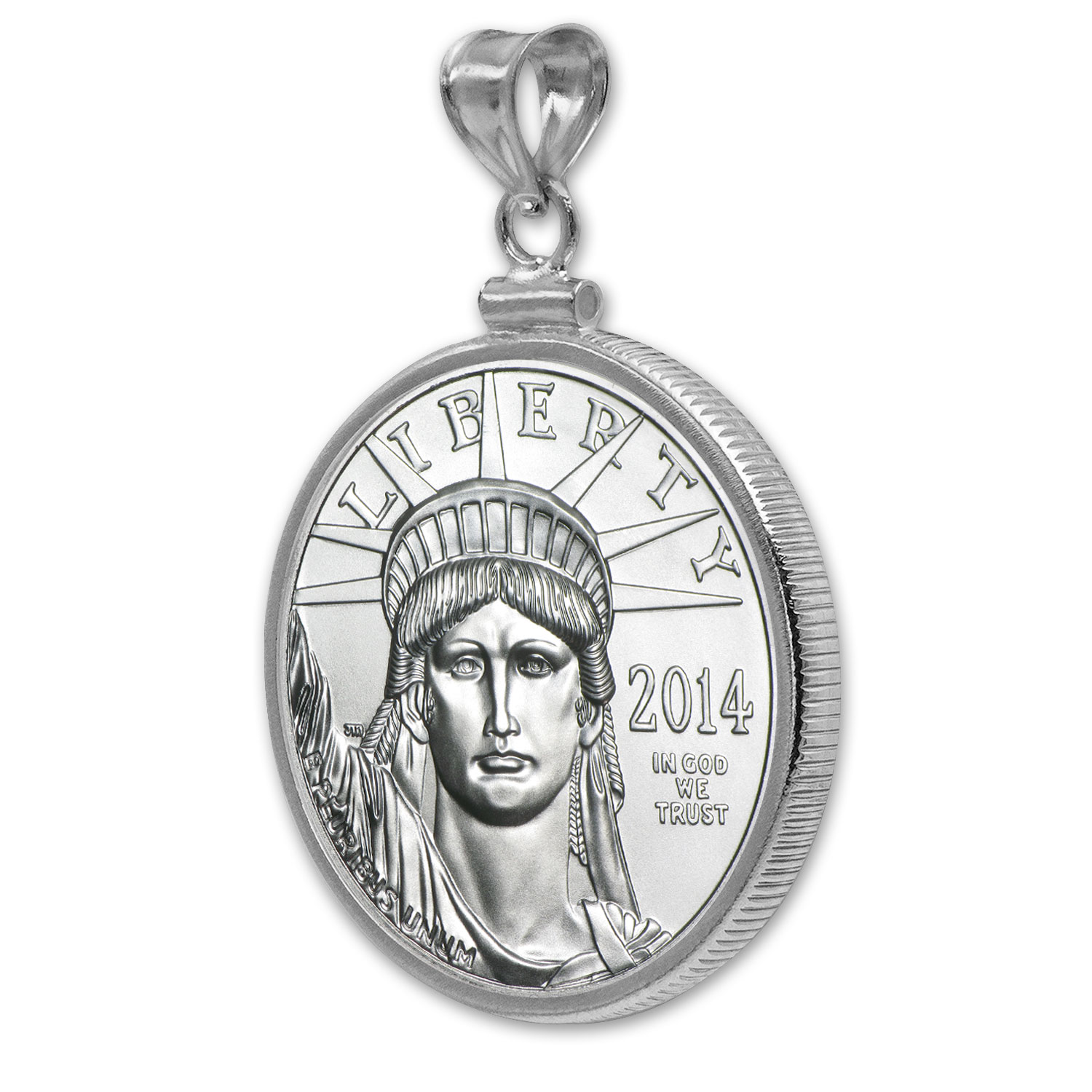 1/2 oz Platinum Eagle White Gold Pendant (Polish-ScrewTop Bezel)